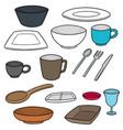 set of tableware vector image vector image