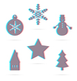 Six winter holiday anagliph flat icon vector image