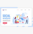 social analysis landing page flat template vector image vector image