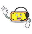 with headphone ticket mascot cartoon style vector image