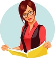 Woman reading magazine vector image