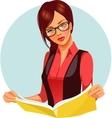 Woman reading magazine vector image