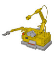 yellow engineering machine on white background vector image vector image