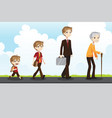 young to old vector image