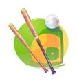 Baseball ball and crossed bats over diamond field vector image