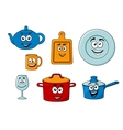 Collection of cartoon kitchenware vector image