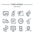 cyber monday line icons set vector image