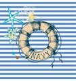 Marine background lifebuoy frame vector image