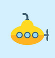 yellow submarine with periscope flat design vector image
