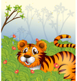 A tiger in the dark forest vector image vector image