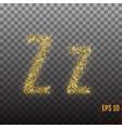 alphabet gold letter z on transparent background vector image