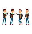 asian teen boy poses set adult people vector image vector image