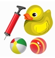 Balls and yellow duck set in cartoon style vector image vector image