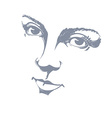 Black and white of lady face delicate visage featu vector image vector image