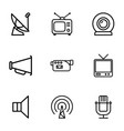 broadcast icons vector image vector image