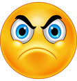 cartoon annoyed smiley emoticon vector image