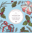 composition with colored gift boxes holly vector image