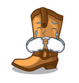 crying old cowboy boots in shape character vector image vector image