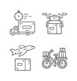 delivery linear icons set thin line contour vector image vector image