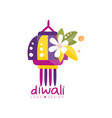 diwali logo design festival lights label vector image vector image