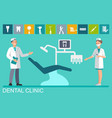 doctor and nurse in the dental office vector image vector image