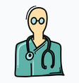 doctor doodle color icon drawing sketch hand vector image vector image