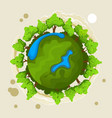 ecology concept with green planet and trees vector image