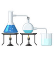 experiment with chemical being burnt vector image vector image