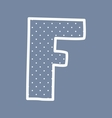 F alphabet letter with white polka dots on blue vector image vector image