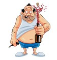 Fat Man Opening Champagne Bottle vector image vector image