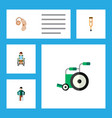 flat icon cripple set of injured disabled person vector image vector image