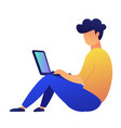 freelancer sitting on the floor looking at laptop vector image