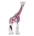 giraffe with psychedelic colored spots vector image vector image