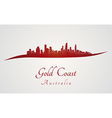 Gold Coast skyline in red vector image vector image