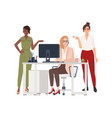 group of female employees or managers at office vector image vector image