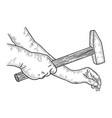 hands hammer nail sketch engraving vector image