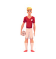 handsome blond football soccer player in uniform vector image