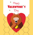 happy valentines day greeting card of cute bear vector image vector image
