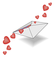 Incoming letter with declarations of love hearts vector image