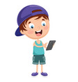 kid using mobile device vector image vector image