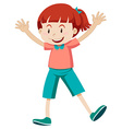 Little girl in pink shirt vector image vector image