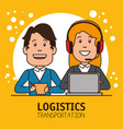 logistic manager infographic delivery cargo vector image vector image