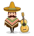 mexican man character isolated icon vector image vector image