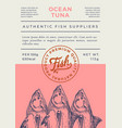 ocean fish abstract packaging design or vector image