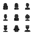 People of different profession set icons in black vector image vector image