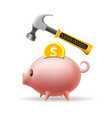 pig bank and hammer vector image