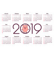 pig calendar for 2019 vector image vector image
