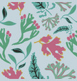 seamless pattern with abstract seaweed hand drawn vector image