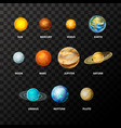 set bright realistic planets on solar system vector image vector image