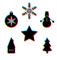 Six winter holiday flat icon vector image vector image